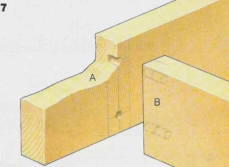 ilustração demonstrando a construção das juntas com cavilhas no passo 7