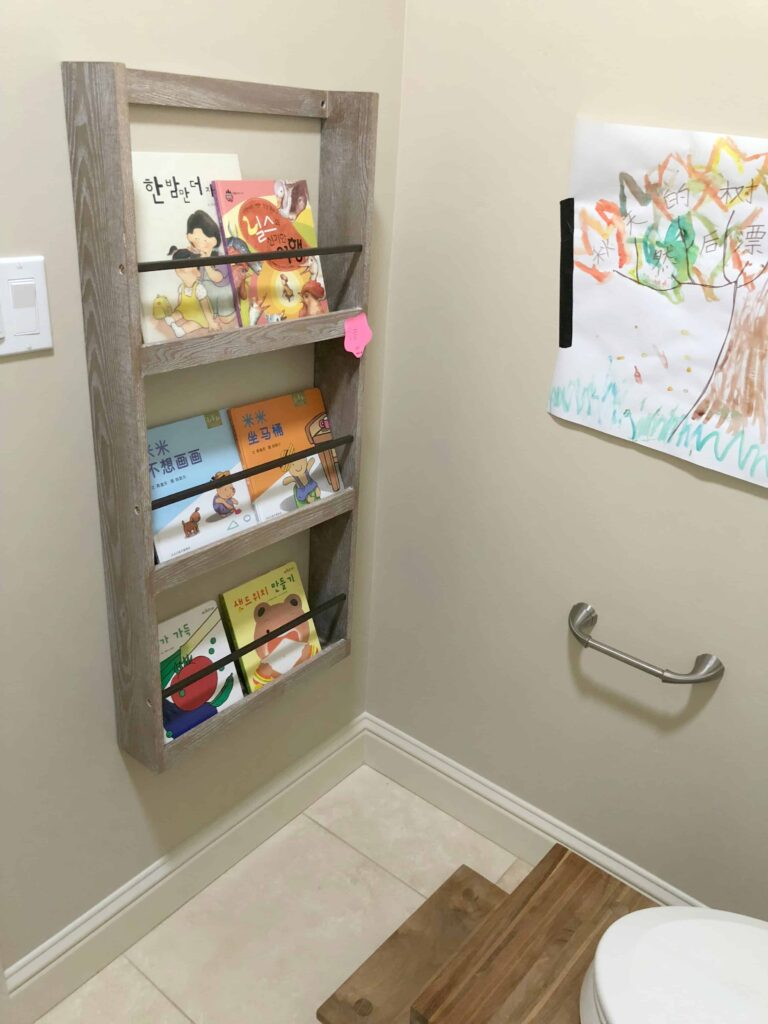 Bookcase in the bathroom!