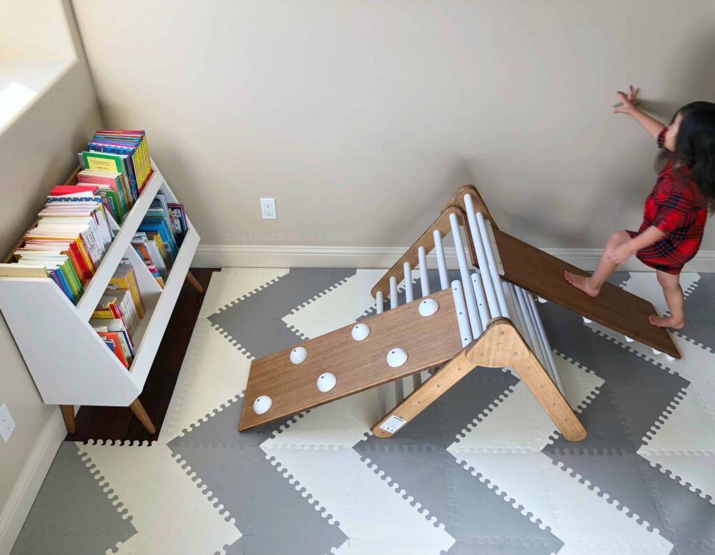 Pikler climing triangle from Lily and River on Etsy; Land of Nod bookcase
