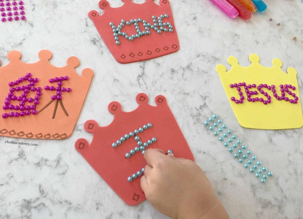 Jesus is King: Crown Craft decorating with glitter glue and pearl stickers