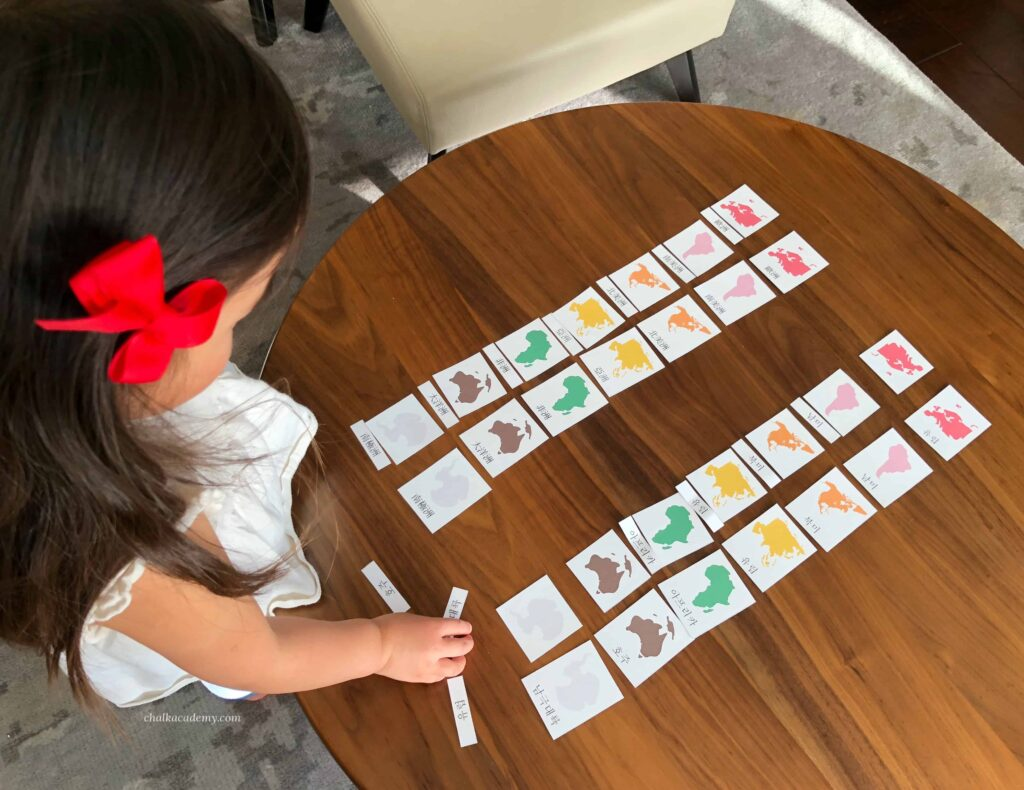 Chinese Montessori 3-part cards Continents