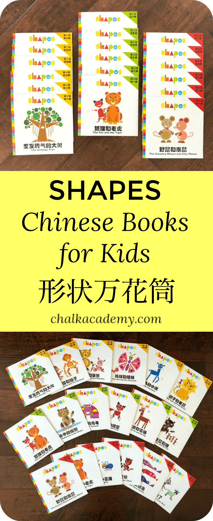 Shapes Chinese Books 形状万花筒 is an excellent series of books for the budding reader.  Large Chinese characters are on separate pages from the cute and clever illustrations that kids will love!  Each story concludes with a positive message as well as full English translation and pinyin reference.