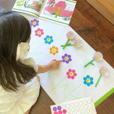 Parts of a Flower Dot Sticker Sight Word Matching Activity