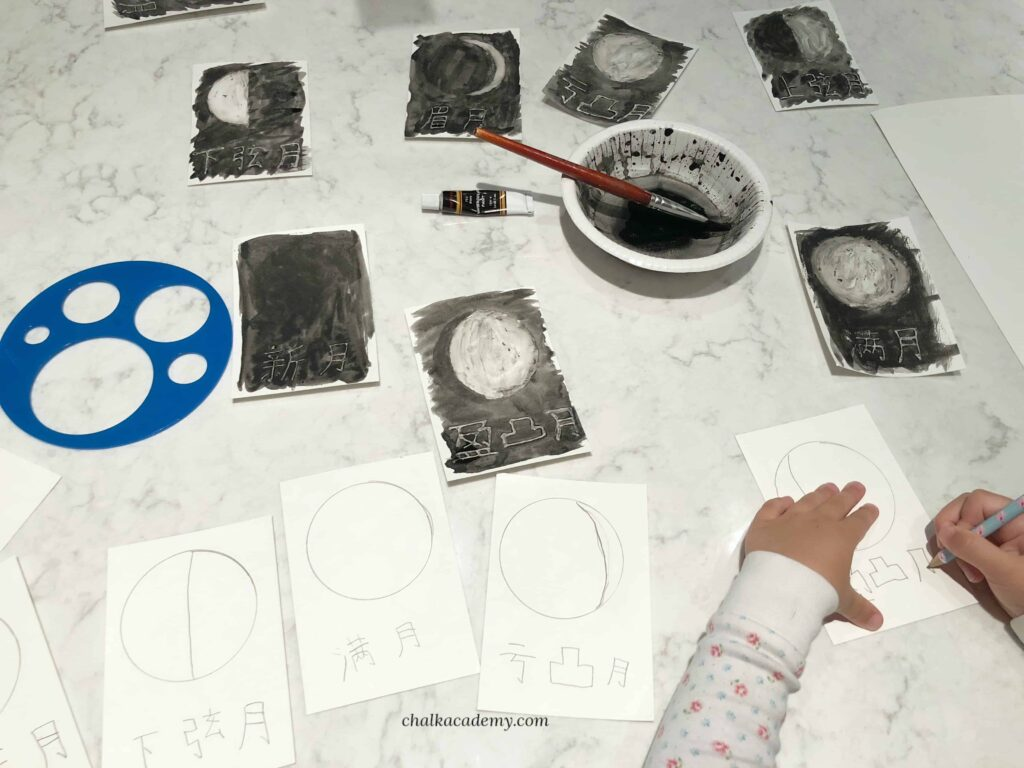 Moon Phases Glue Resist Watercolor Painting Activity