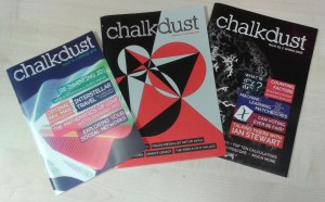 The covers of issues 1, 2 and 3 of Chalkdust