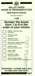 An Australian ballot paper, using the alternative vote system.