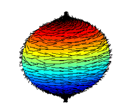 Hairy ball with two tufts at the poles
