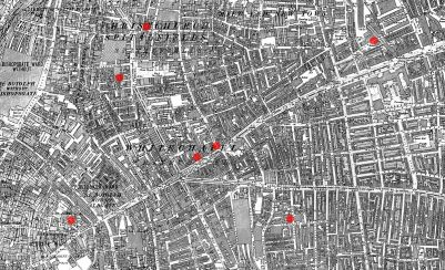 Location of the first seven Whitechapel murders, most of them ascribed to the serial killer known as Jack the Ripper