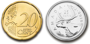 20-cent and 25-cent coins