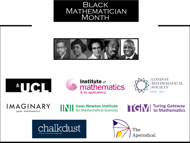 Black Mathematician Month banner -- an equals sign, the top bar containing the words 'Black Mathematician Month' and the bottom bar with the faces of Elbert Cox, Dorothy Vaughn, Euphemia Lofton Hayes, Katherine Johnson, Tanniemola Liverpool and Nira Chamberlain. Below are the logos of the supporting institutions.