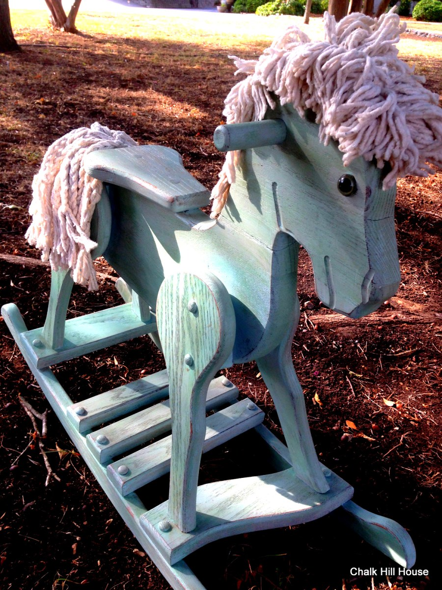 Old BlueA Vintage Chalk Painted Wooden Rocking Horse