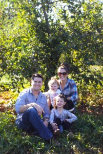 Lesny family picture in orchards