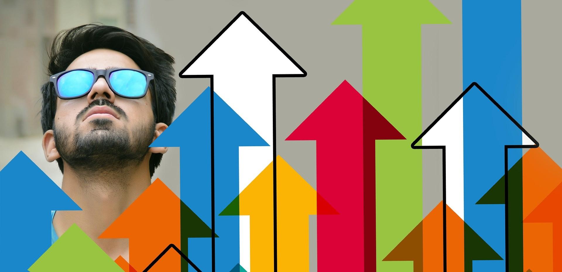 男性と上昇チャート