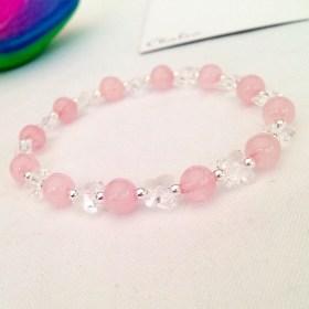Rose Quartz butterfly bracelet.