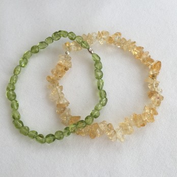 Peridot nugget and Citrine chip bracelets