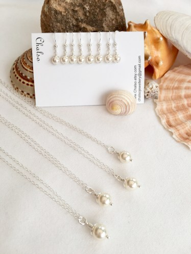 This set with white Swarovski pearls is a popular bridesmaid gift.