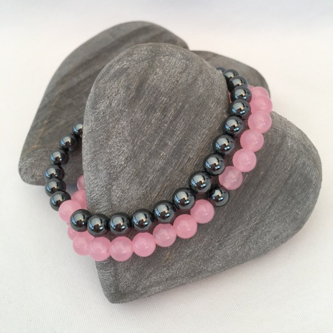 Hematite and Rose Quartz couple's bracelets