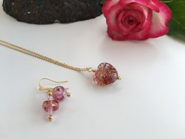 Pink champagne lampwork jewellery.