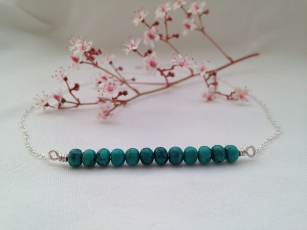 Natural Turquoise Horizon or Bar necklace made with natural, unstabilised, Turquoise and Sterling silver. Size of bar can be customised.