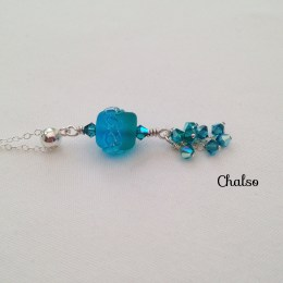 Blue and green lampwork pendant.