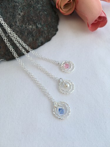 Sterling silver necklace with diamond cut, sparkly, Sterling silver rings and Swarovski elements.