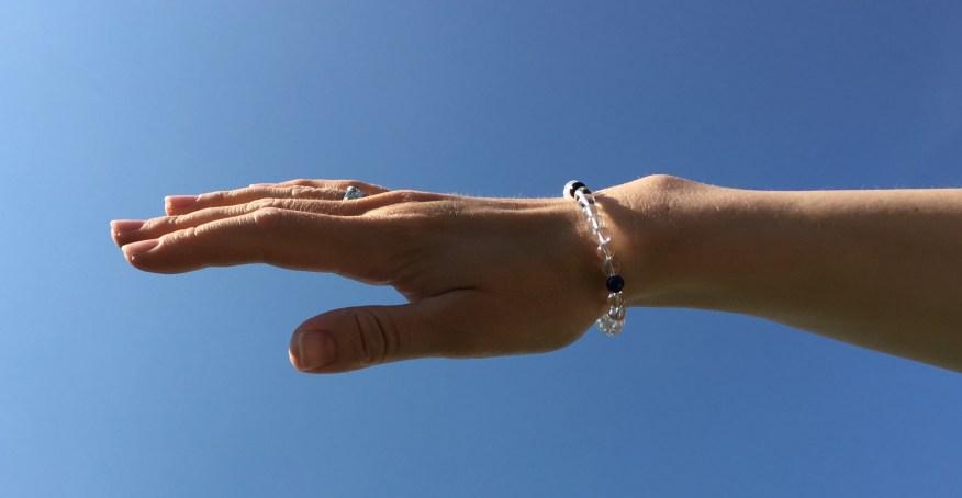 Elements bracelet with Opal, Carnelian, Onyx, Lapis Lazuli and clear Crystal Quartz.