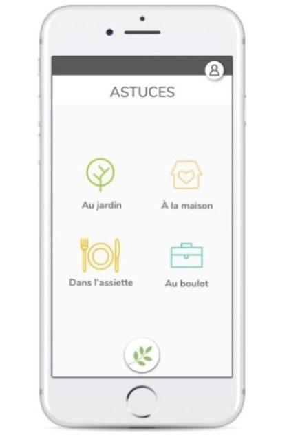 L'astuce verte - écran présentant les catégories d'astuces