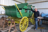 Dick with restored wagon at Westland Industrial Heritage Park