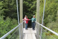 Nicki & Barbara cross the swing bridge