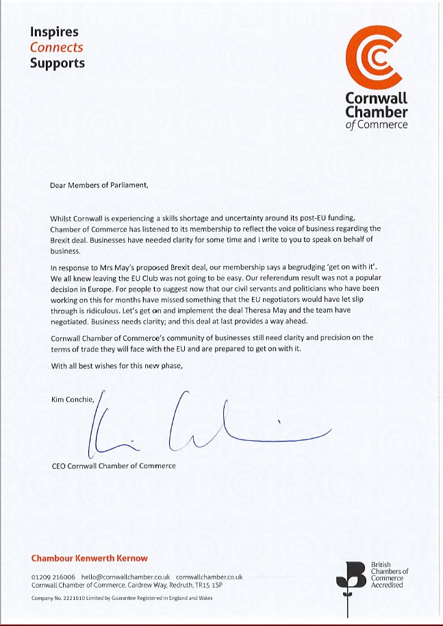 Cornwall Chamber of Commerce open letter for MPs Cornwall