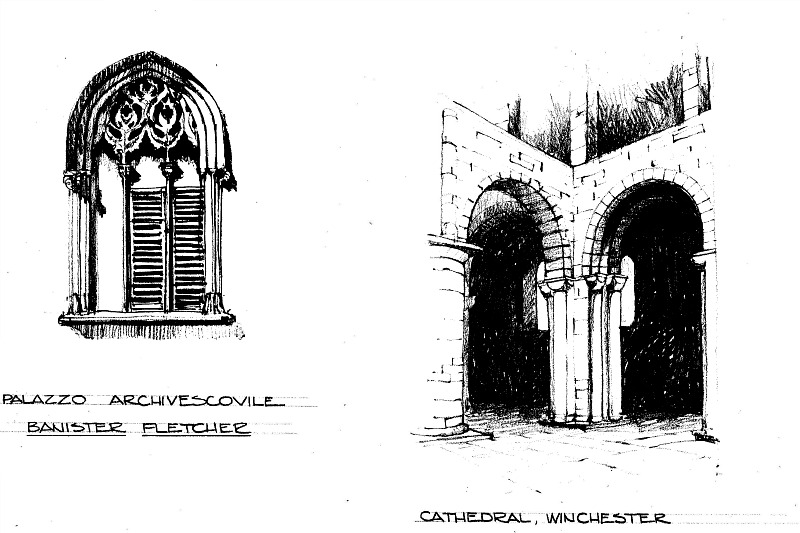 Sketch by architect, Steve Chambers. gothic arches