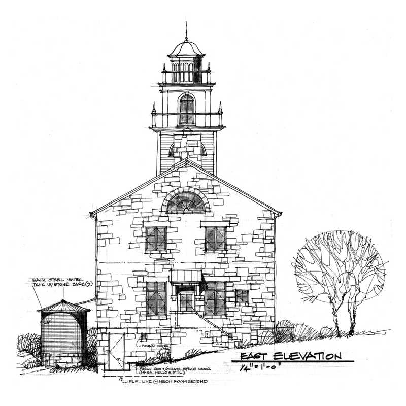 Historic Gothic Church Becomes Ranch Museum. Sketch by