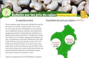 Read more about the article Bulletin sur les prix du cajou N° 004 du 25 mars 2021