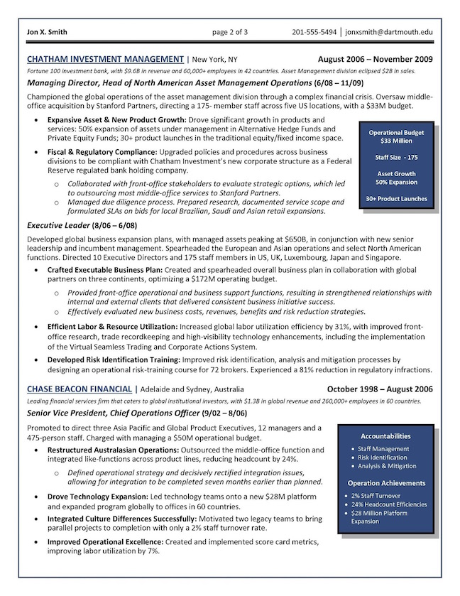 one page resume sample executive