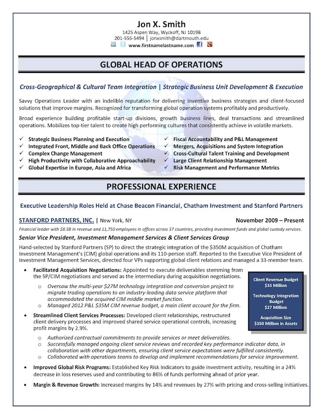 best example resume chief of operations