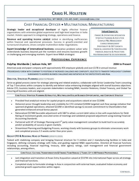 resume examples finance executive