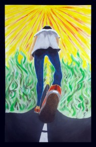 Chasing Hope - 12x18 Acrylic, by Zoe (Jia) Xiong '16 - The road means the journey of my life. The yellow light means hope. Green fire represents passion and the hardships in my journey.