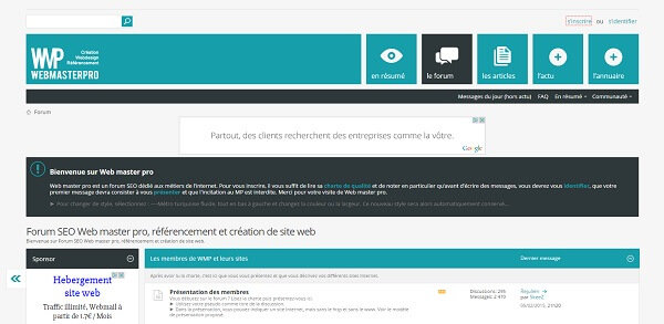 Capture d'écran du forum WMP (Web Master Pro)