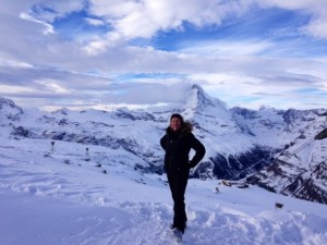Luxury Travel Blogger Eileen Callahan on the slopes in Zermatt Switzerland