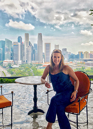 Champagne Travels' Eileen Callahan at  the Marriott Singapore Hotel