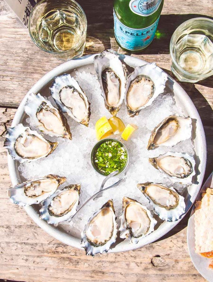 oysters in the half shell on ice
