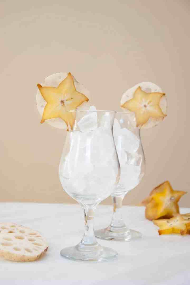 Island-Inspired Edible Cocktail Island-Inspired Edible Cocktail Garnish: Lotus Root + Starfruit
