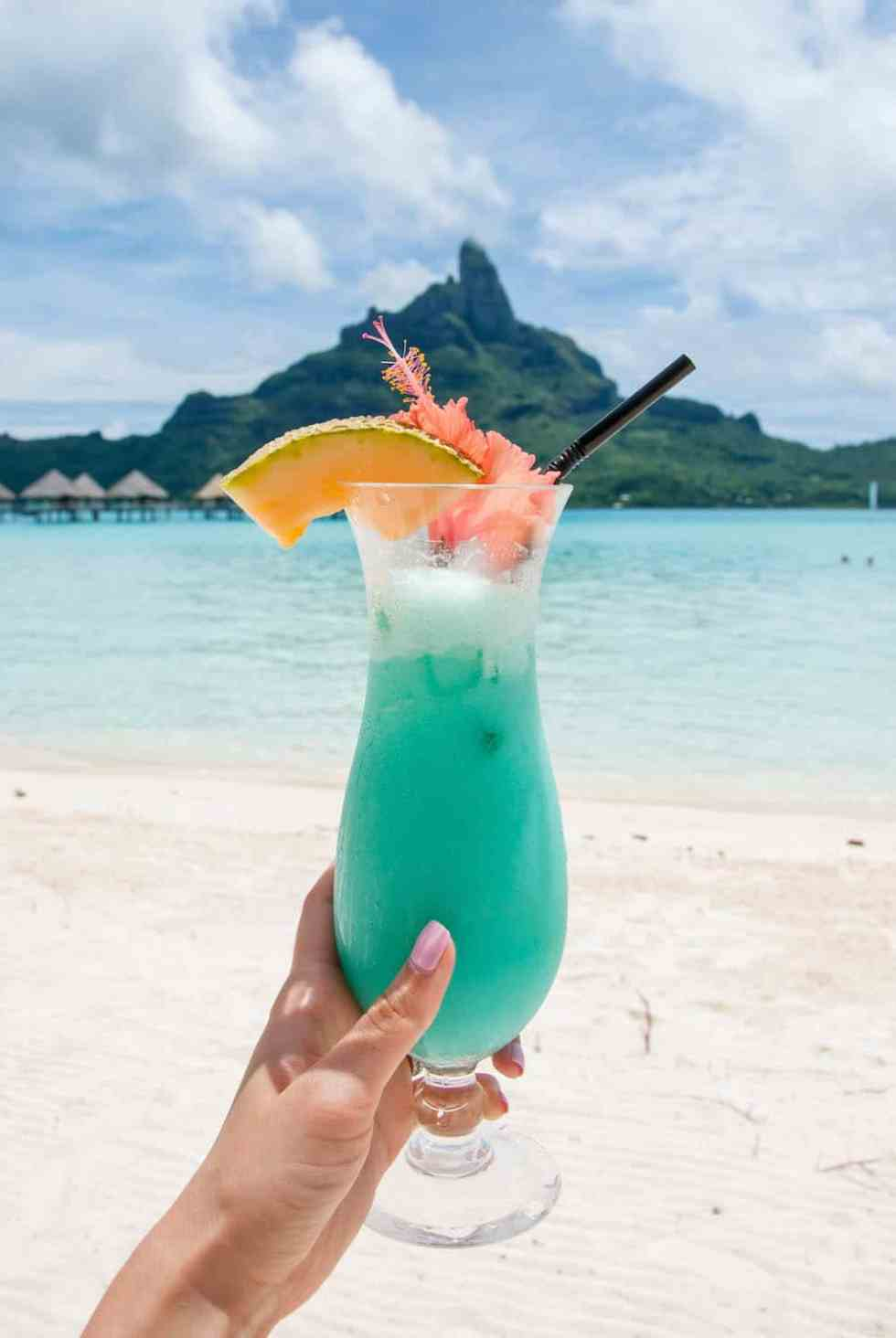 Island-Inspired Edible Cocktail Garnish in Bora Bora