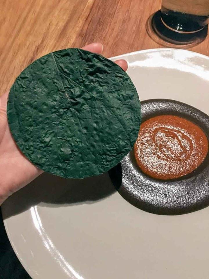 Mole at Pujol Mexico City with Green Tortilla