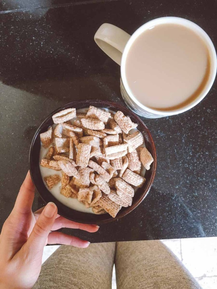 What a dietitian eats in a week - breakfast cereal with coffee