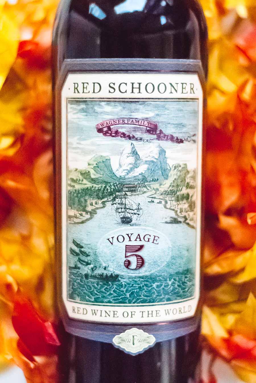 Close-up image of a Red Schooner wine bottle label.