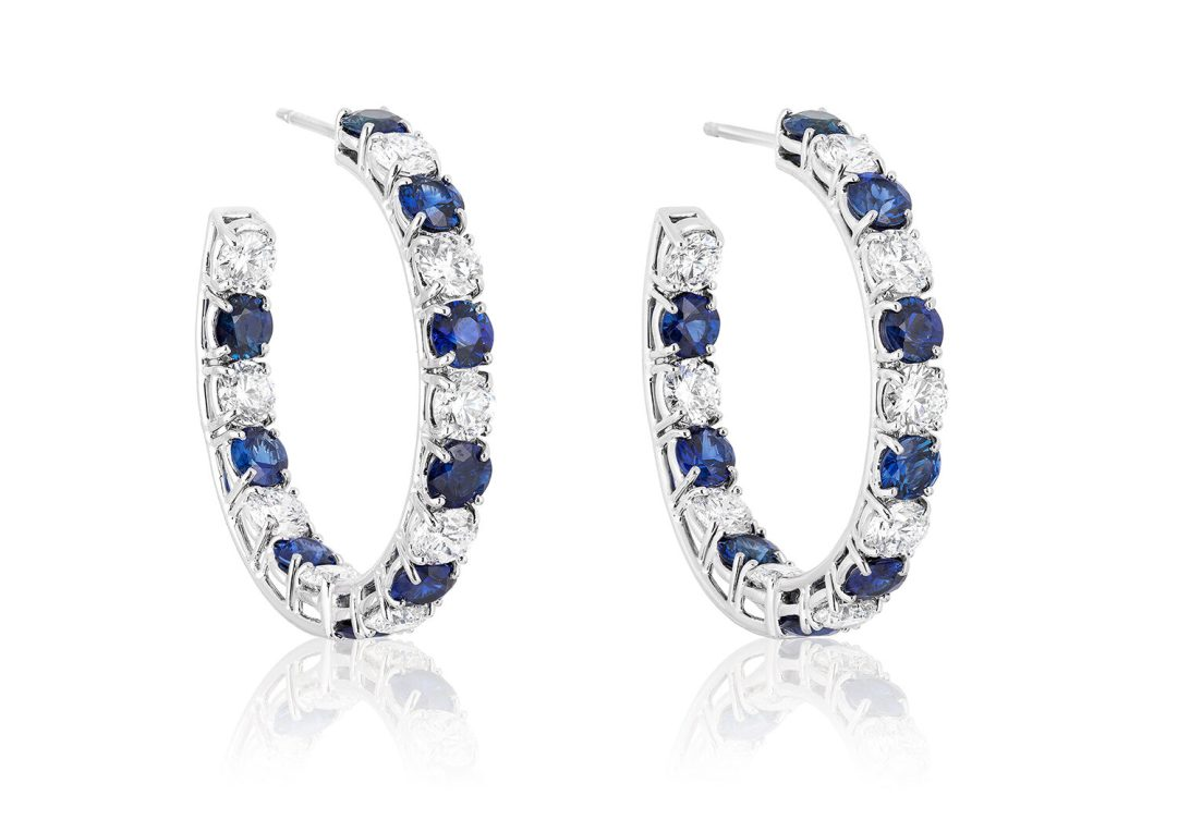 BAYCO - SAPPHIRE & DIAMOND HOOP EARRINGS