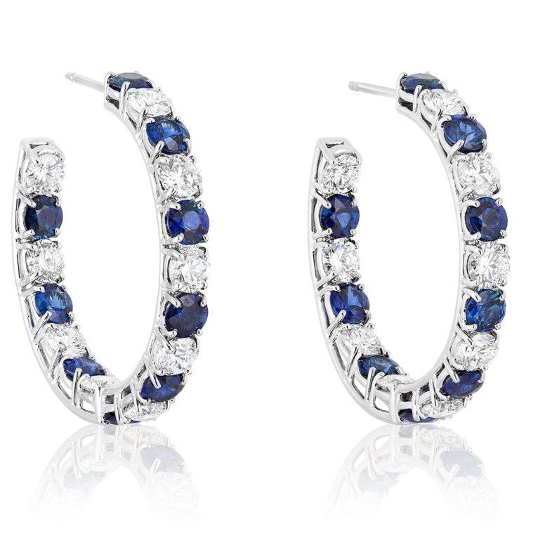 BAYCO - SAPPHIRE & DIAMOND HOOP EARRINGS