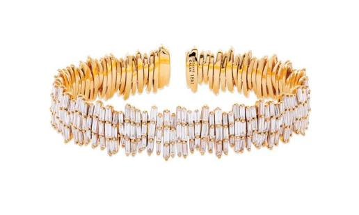 SUZANNE KALAN - TRIPLE LAYER FIREWORKS CUFF IN 18kt YELLOW GOLD