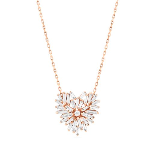 SUZANNE KALAN - 18kt ROSE GOLD FIREWORKS SMALL HEART PENDANT